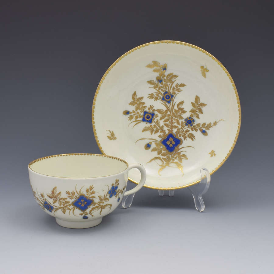 First Period Worcester Porcelain Tea Cup & Saucer c.1785