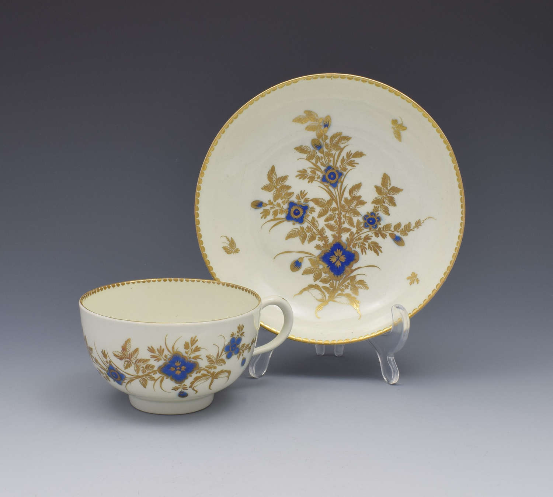 First Period Worcester Porcelain Tea Cup & Saucer c.1785