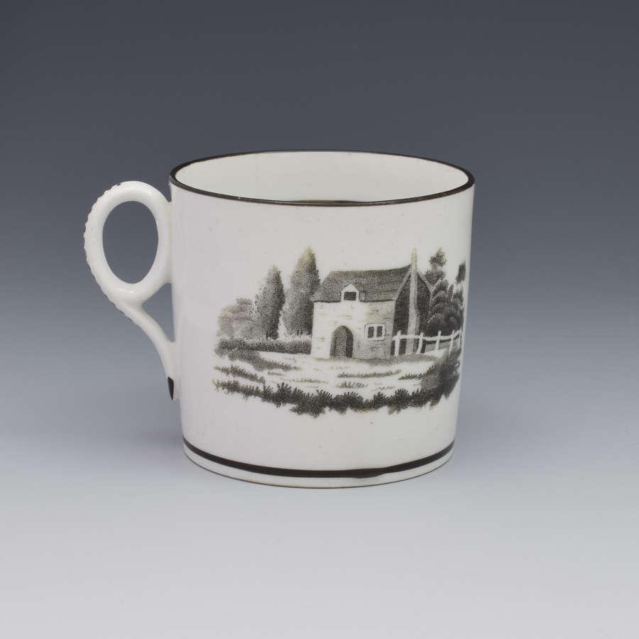 New Hall Bat Print Landscape Coffee Can c.1805