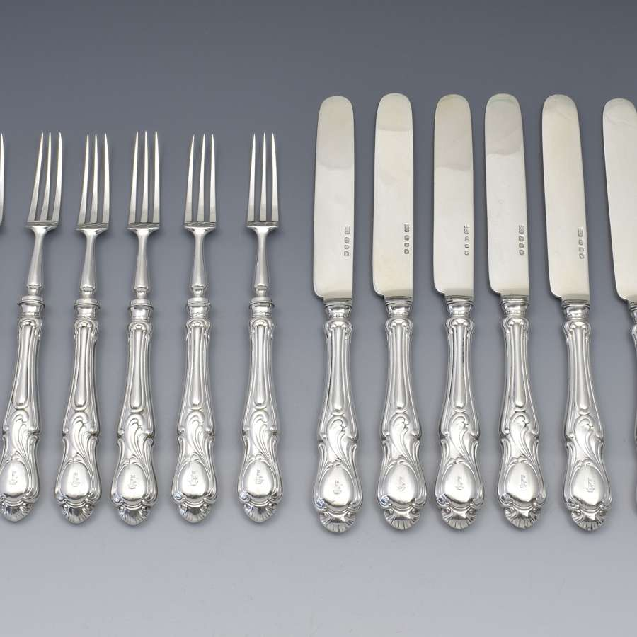 Fine Set Of 6 Victorian Sterling Silver Dessert Knives & Forks