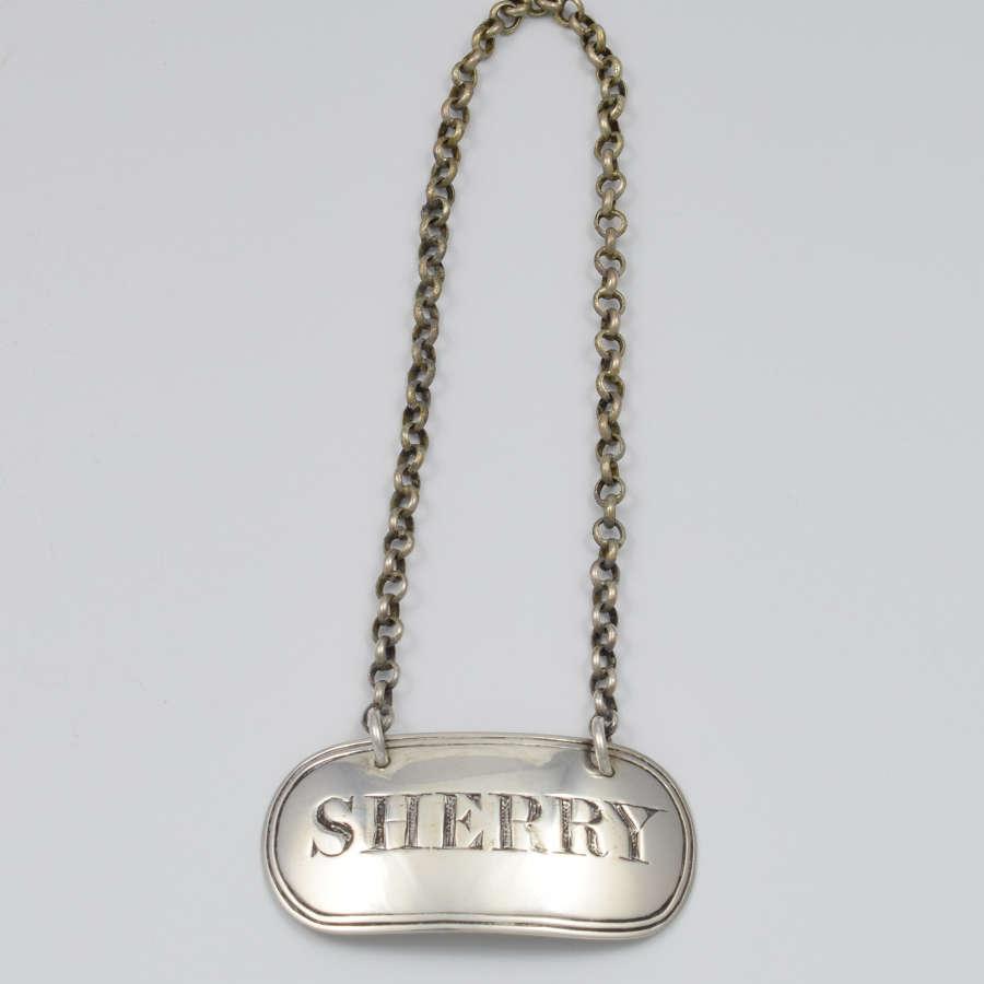 Victorian Silver Sherry Decanter Label William Knight
