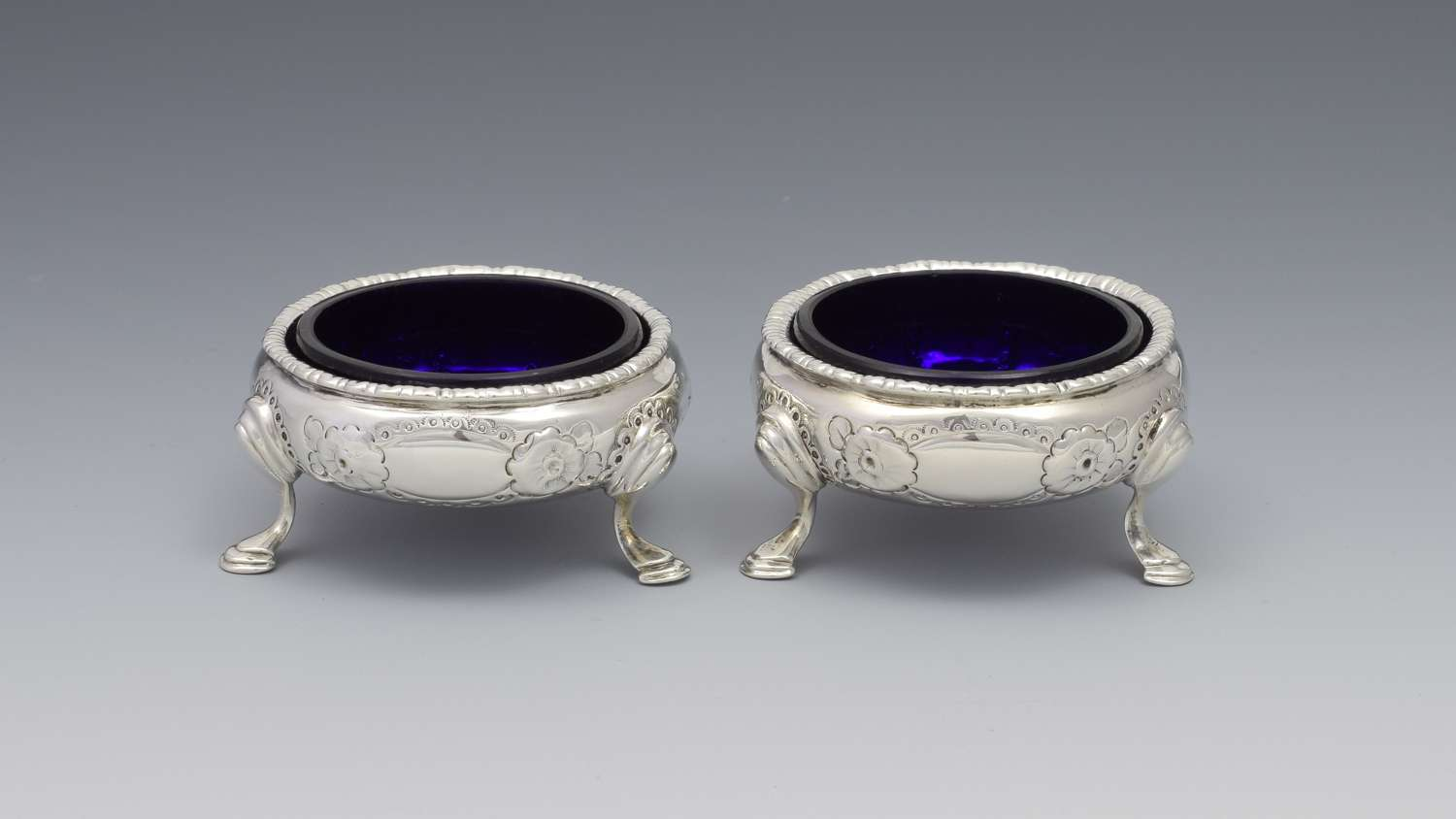 Pair Early George III Silver Cauldron Table Salts William Kersill 1769