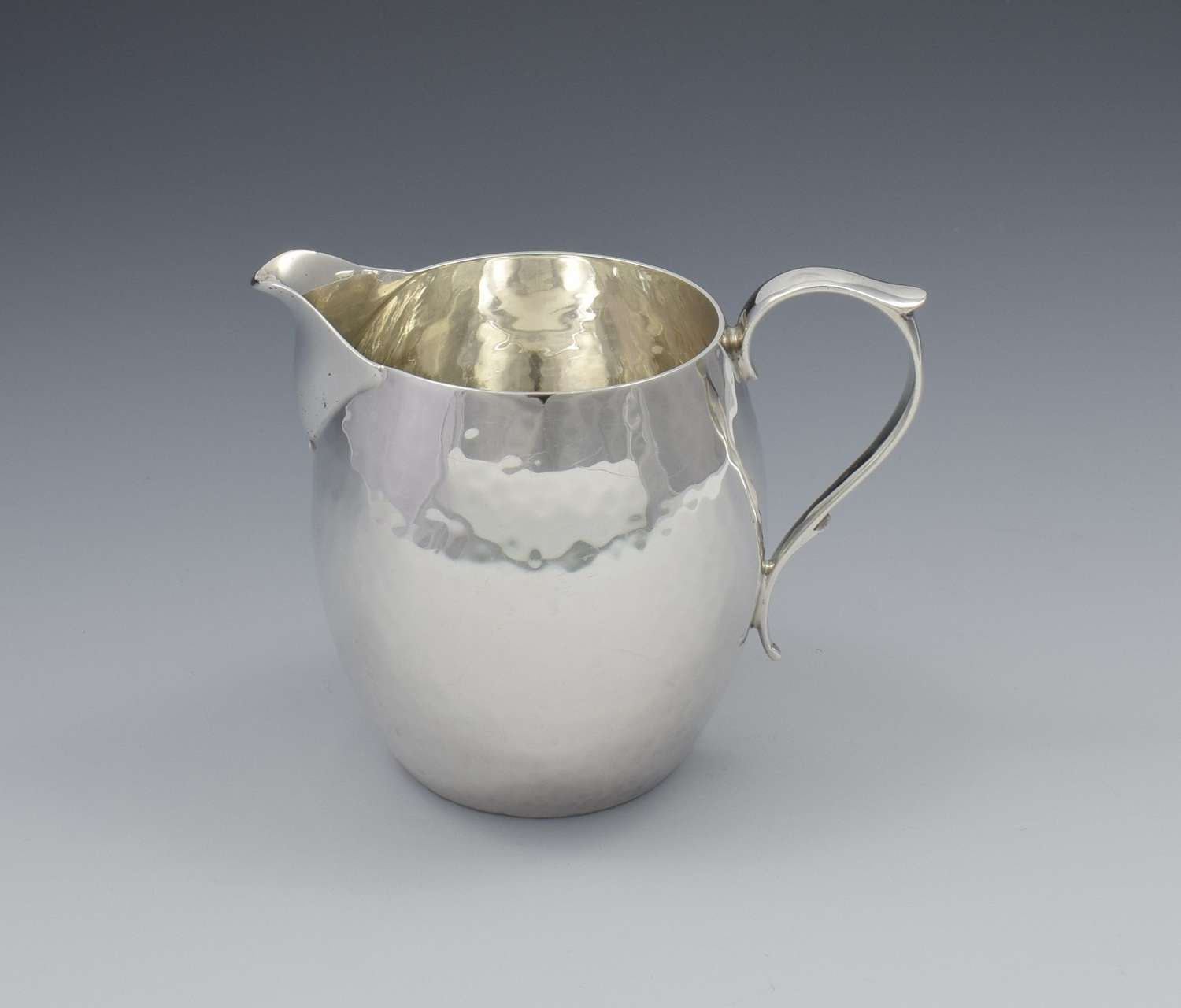 Art Deco Hammered Silver Cream Jug Goldsmiths & Silversmiths Co.