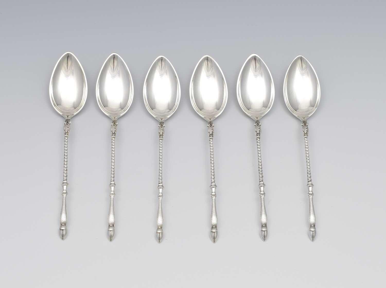 Cased Set Of 6 Bruchmann & Sohne Silver Deer Hoof Coffee Spoons