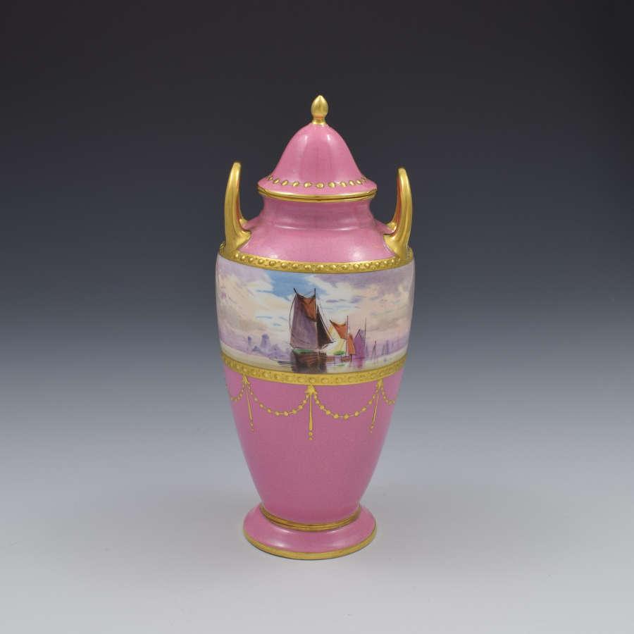 Minton Porcelain Pink Vase & Cover James Edwin Dean