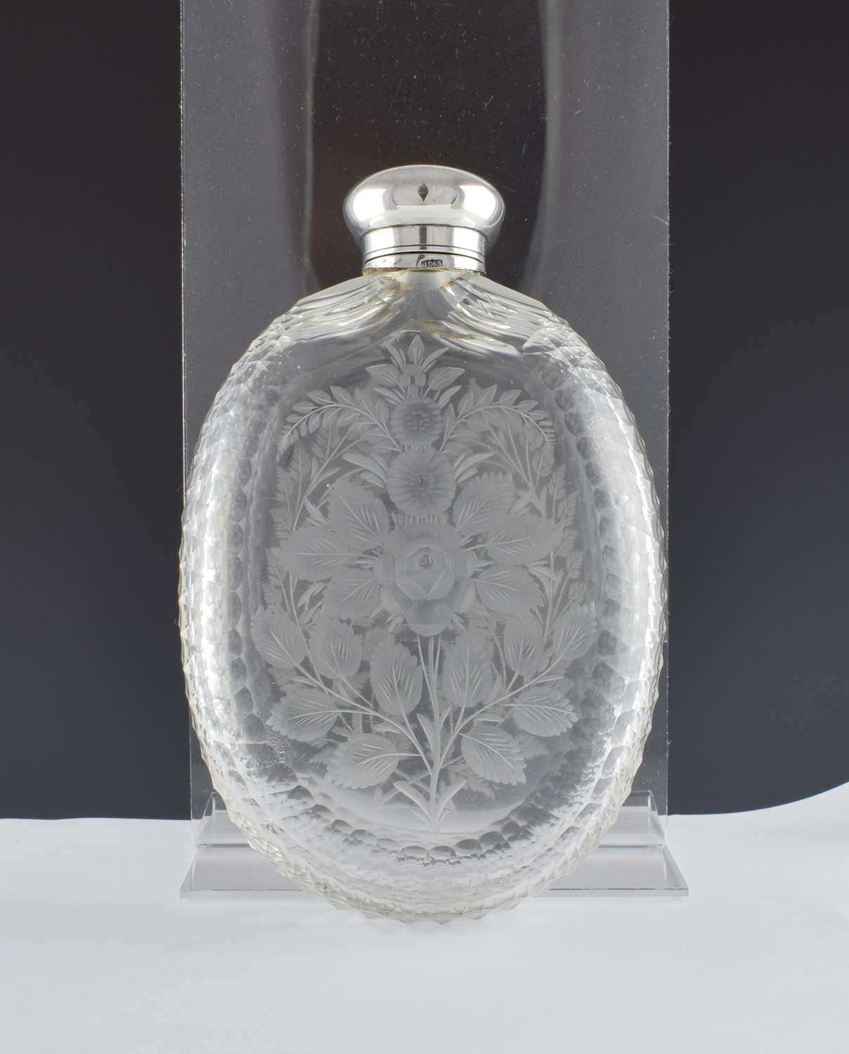 Unusual Victorian Engraved Cut Glass & Silver Plated Hip Spirit Flask