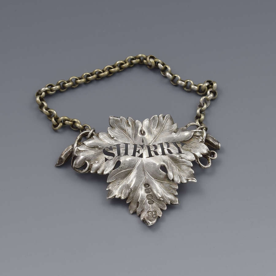 Early Victorian Silver Vine Leaf Sherry Decanter Label 1838