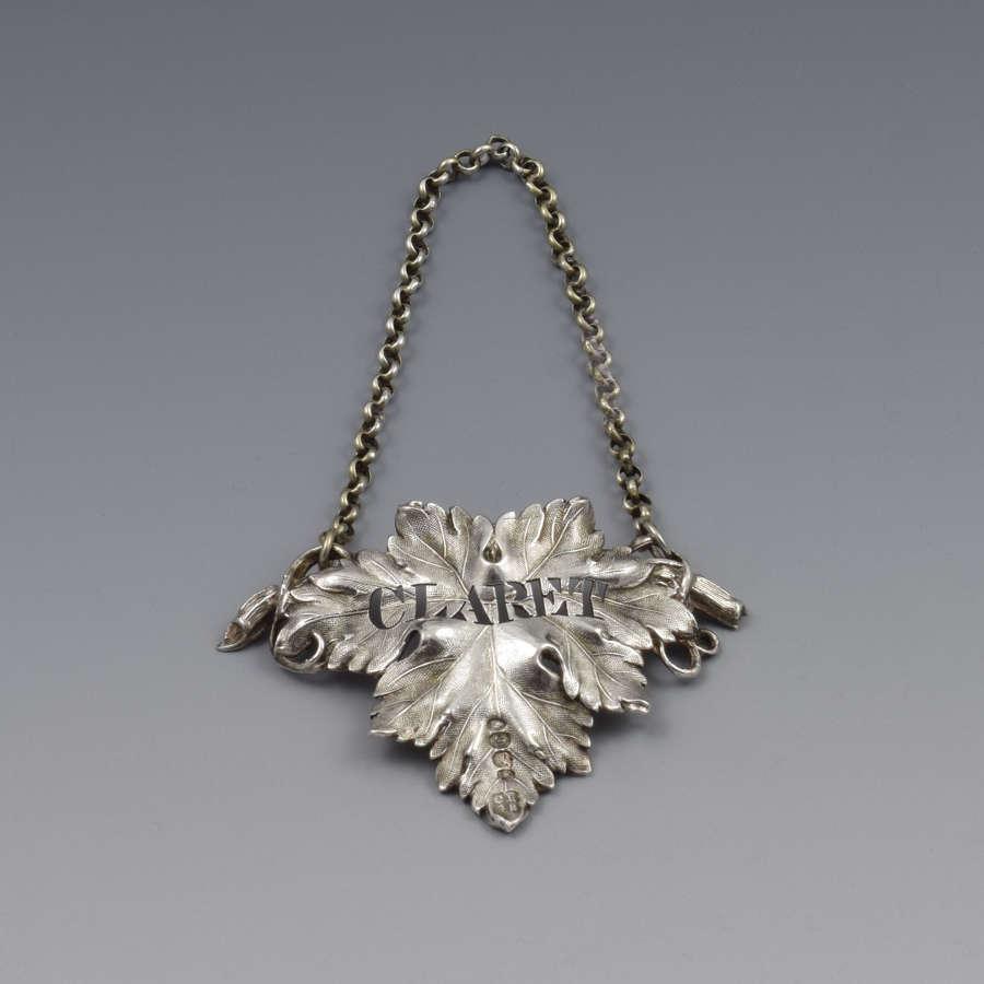 Early Victorian Silver Vine Leaf Claret Decanter Label 1838