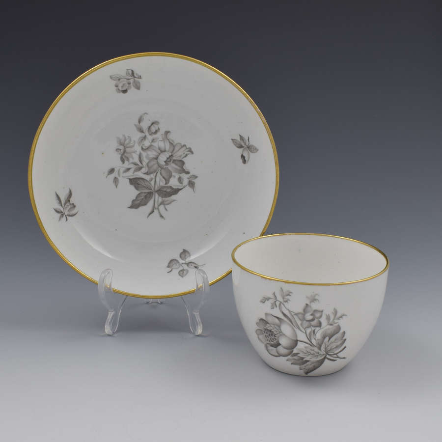 Spode En Grisaille Bute Cup & Saucer Floral Pattern c.1805