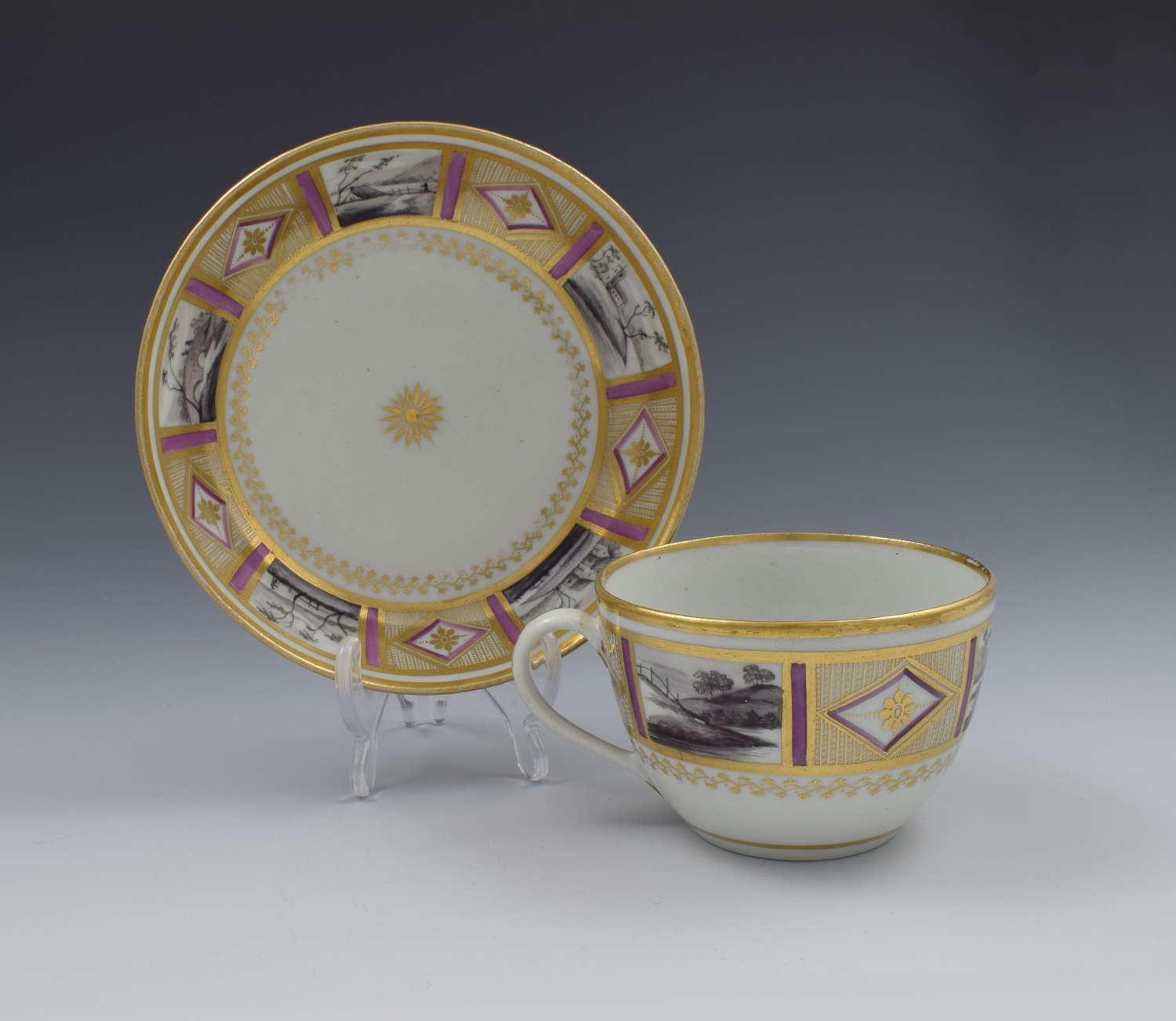 Stunning New Hall En Grisaille & Lilac Bute Cup & Saucer Pattern 436