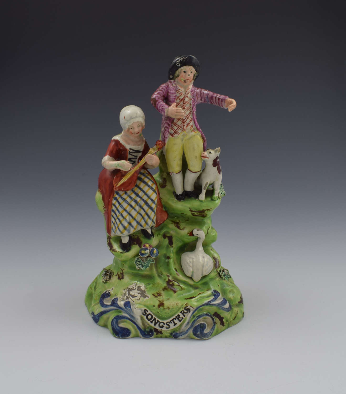 Staffordshire Pearlware Walton Figure Group Songsters c.1830