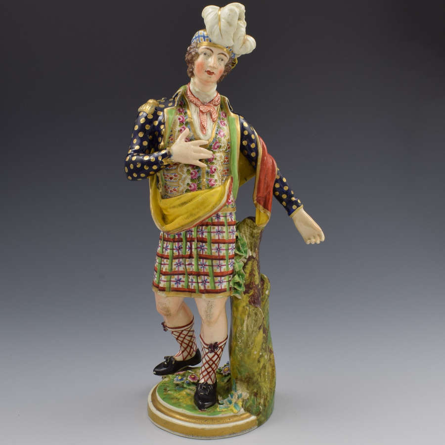 Large Derby Porcelain Figure Of A Scotsman No. 378 By Coffee c.1820