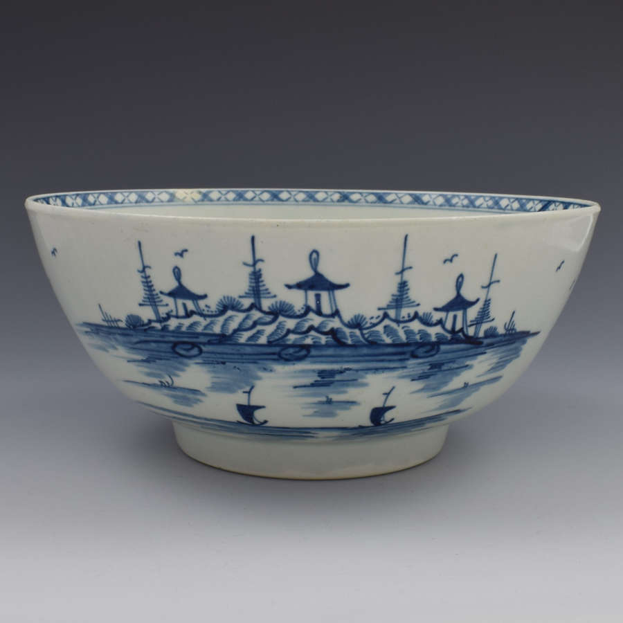 First Period Worcester Rock Strata Island Large Punch Bowl c.1775