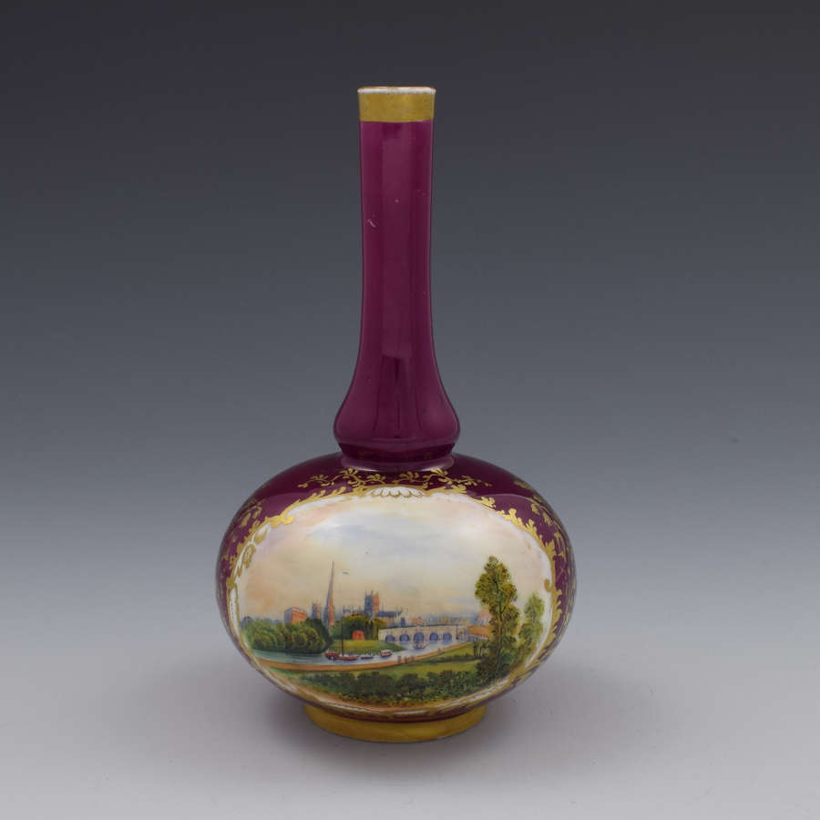 Chamberlain's Worcester Porcelain Bottle Vase View Of Worcester