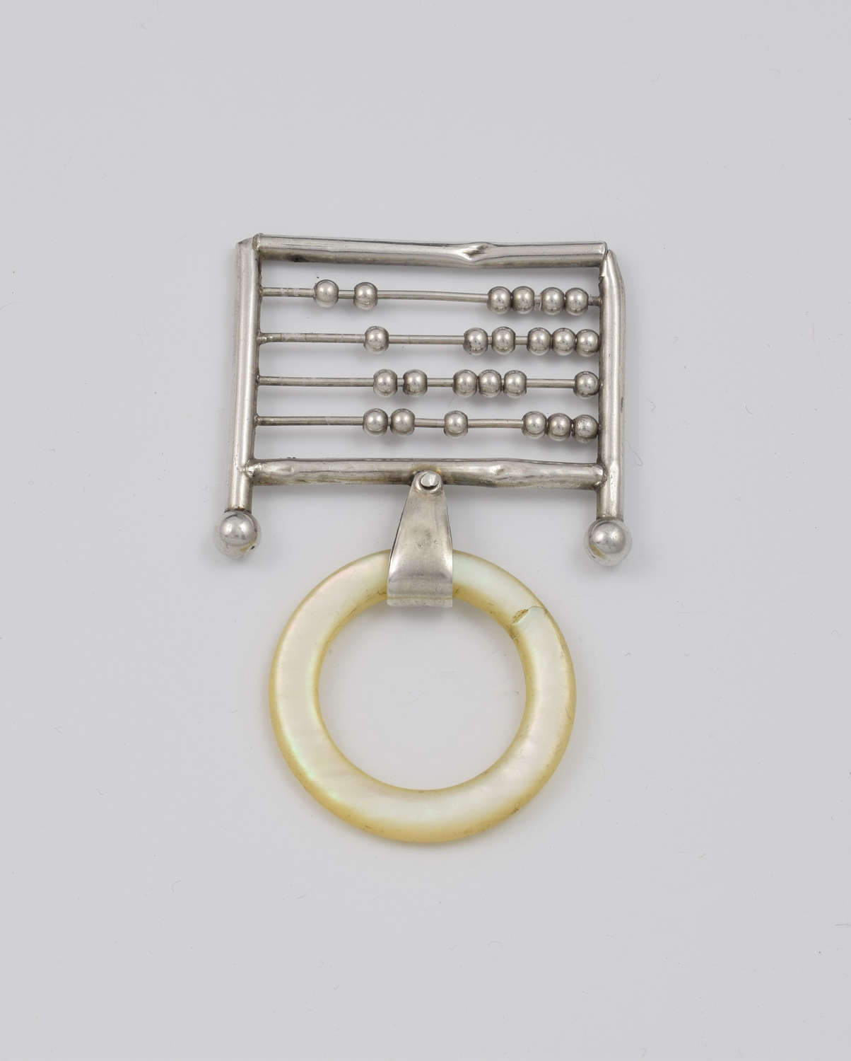 Unusual Antique Novelty Silver Abacus Teething Ring