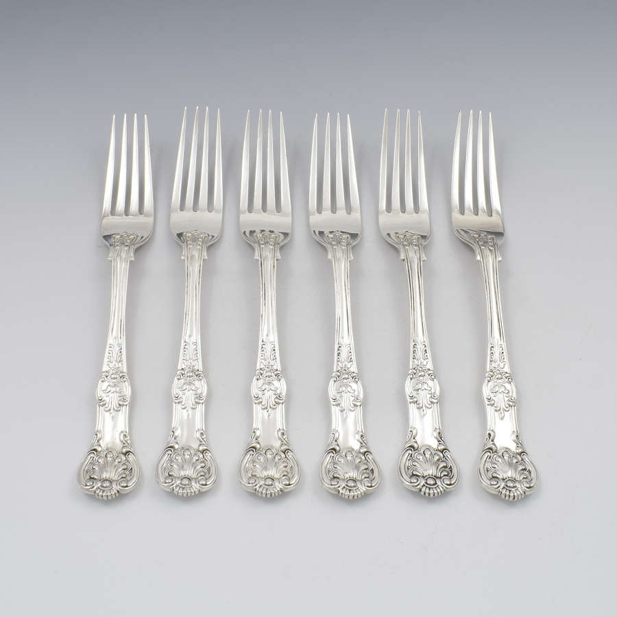 Fine Set 6 Silver Victorian Queen's Honeysuckle Pattern Dinner Forks