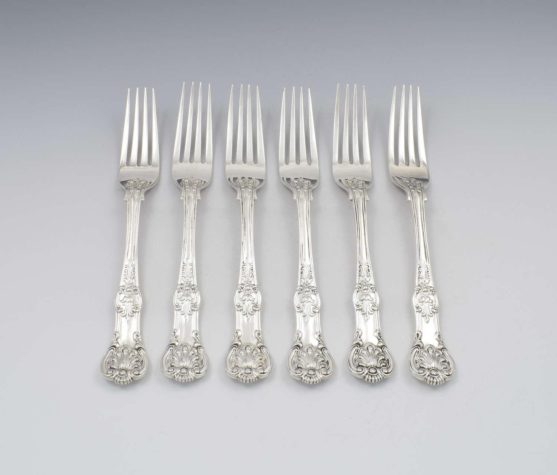 Fine Set 6 Silver Victorian Queen's Honeysuckle Pattern Dinner Forks
