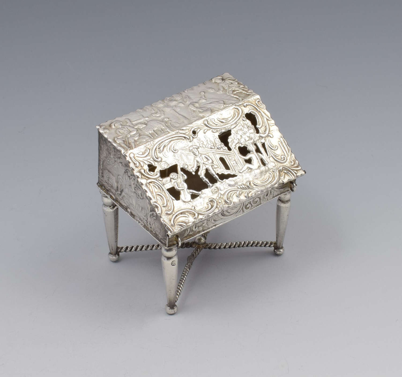 Victorian Dutch Miniature Silver Bureau Schoonhoven Hooijkaas