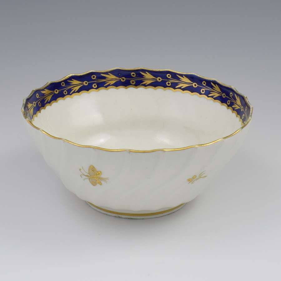 Flight Worcester Porcelain Large Spiral Fluted Bowl Gilded Fly Pattern