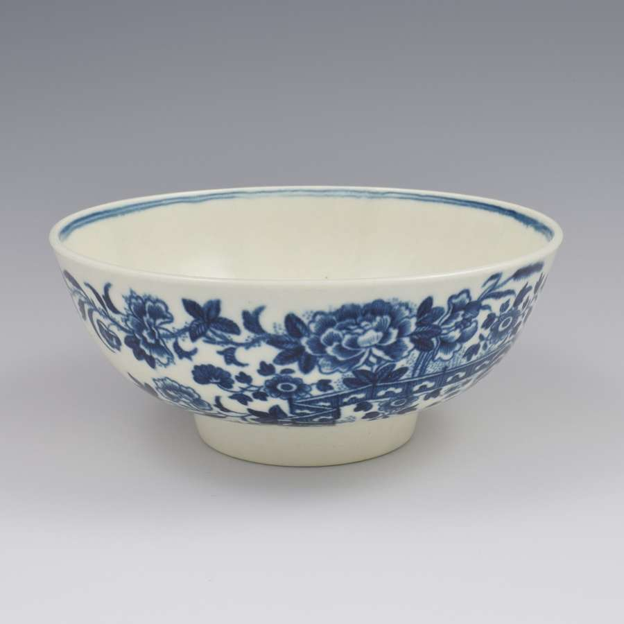 First Period Worcester Porcelain Slop Bowl Fence Pattern c.1770