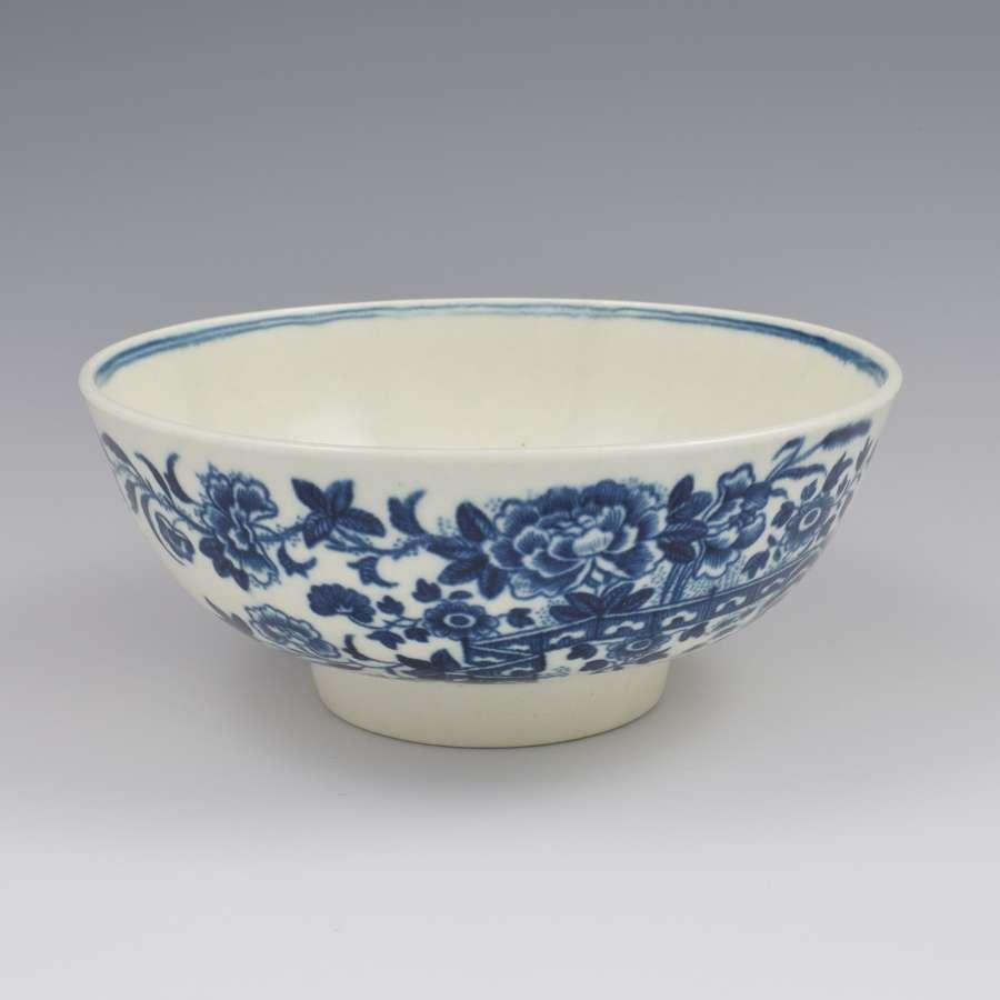 First Period Worcester Porcelain Slop Bowl Fence Pattern c.1770