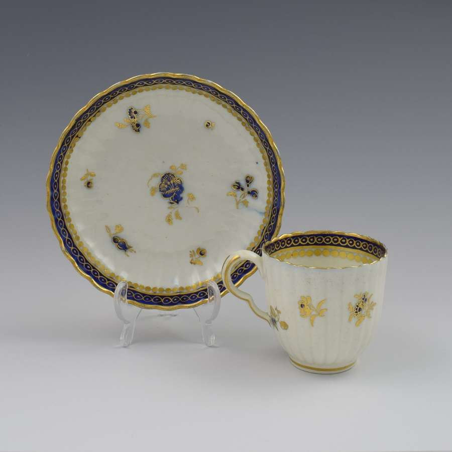 Caughley Porcelain Fluted Coffee Cup & Saucer Dresden Flowers
