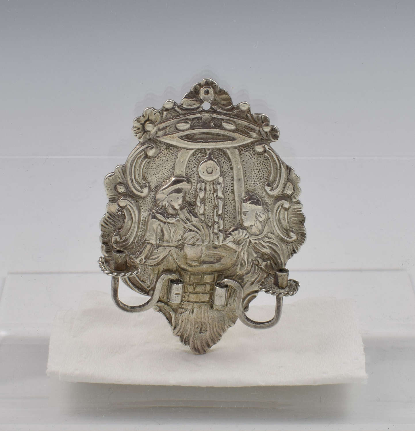 Unusual Dutch Silver Novelty Miniature Wall Sconce