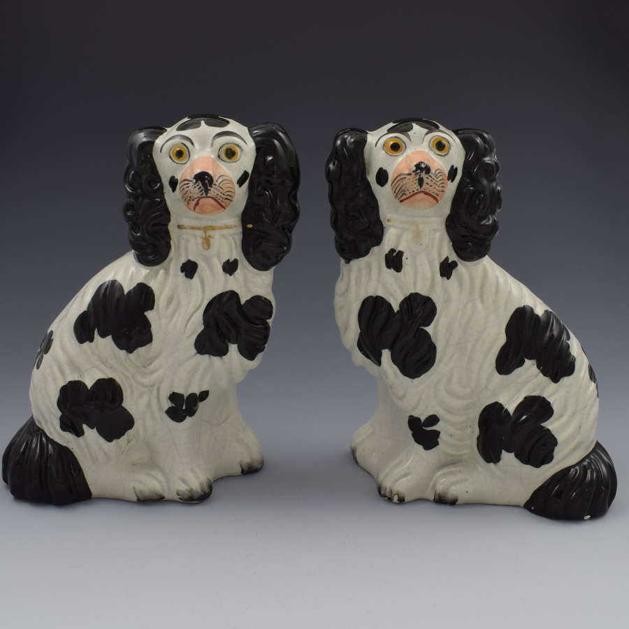Pair Victorian Staffordshire Spaniels Dogs No. 4 Black & White C.1860