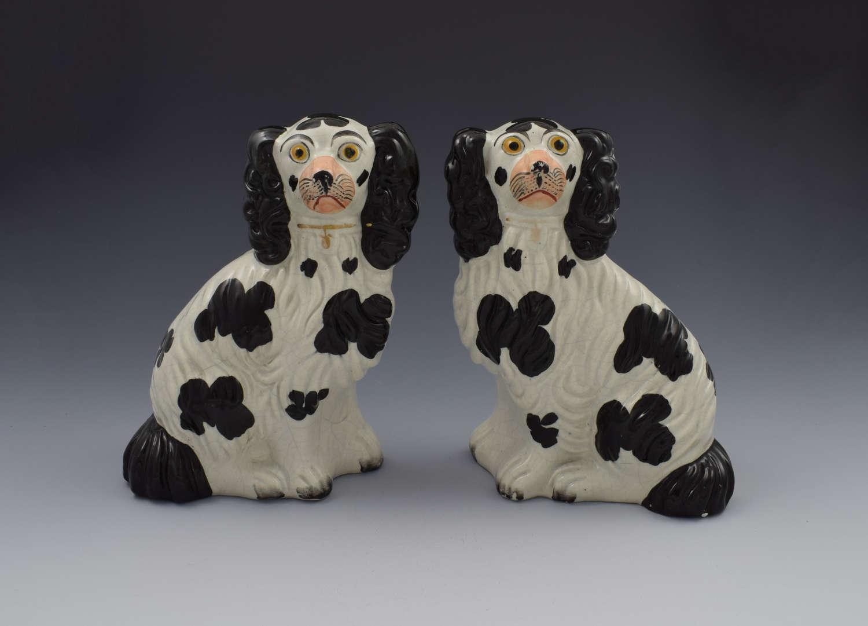Pair Victorian Staffordshire Spaniels Dogs No. 4 Black & White C.1860