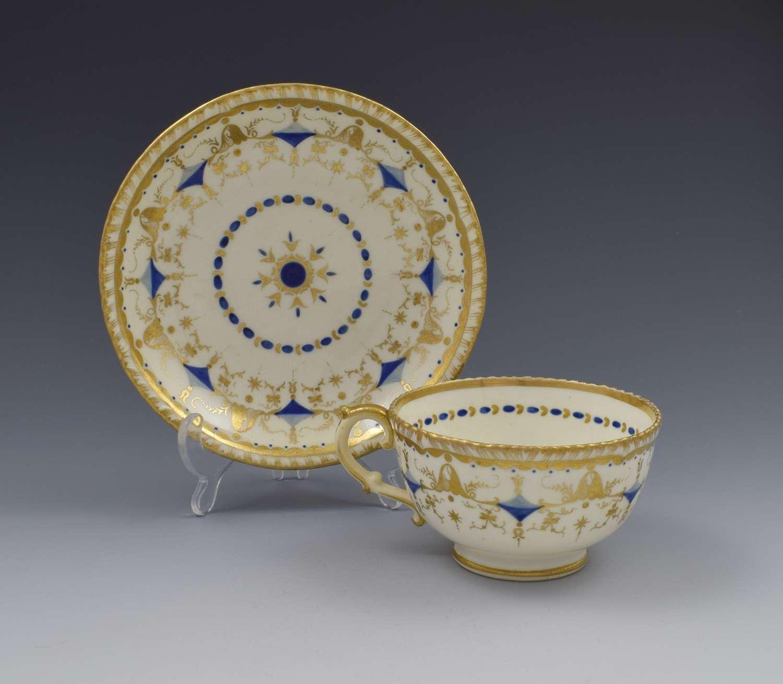 Grainger Porcelain Tea Cup & Saucer Gadrooned Rim C.1825