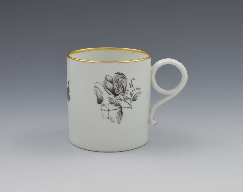 Barr Flight & Barr Worcester Porcelain Bat Print Floral Coffee Can