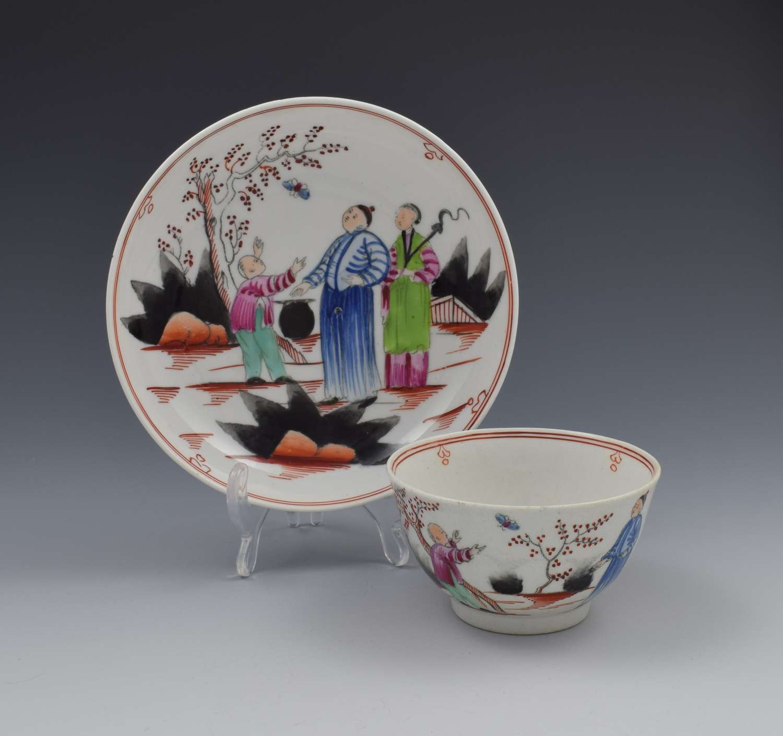 New Hall Porcelain The Boy & Butterfly Tea Bowl & Saucer