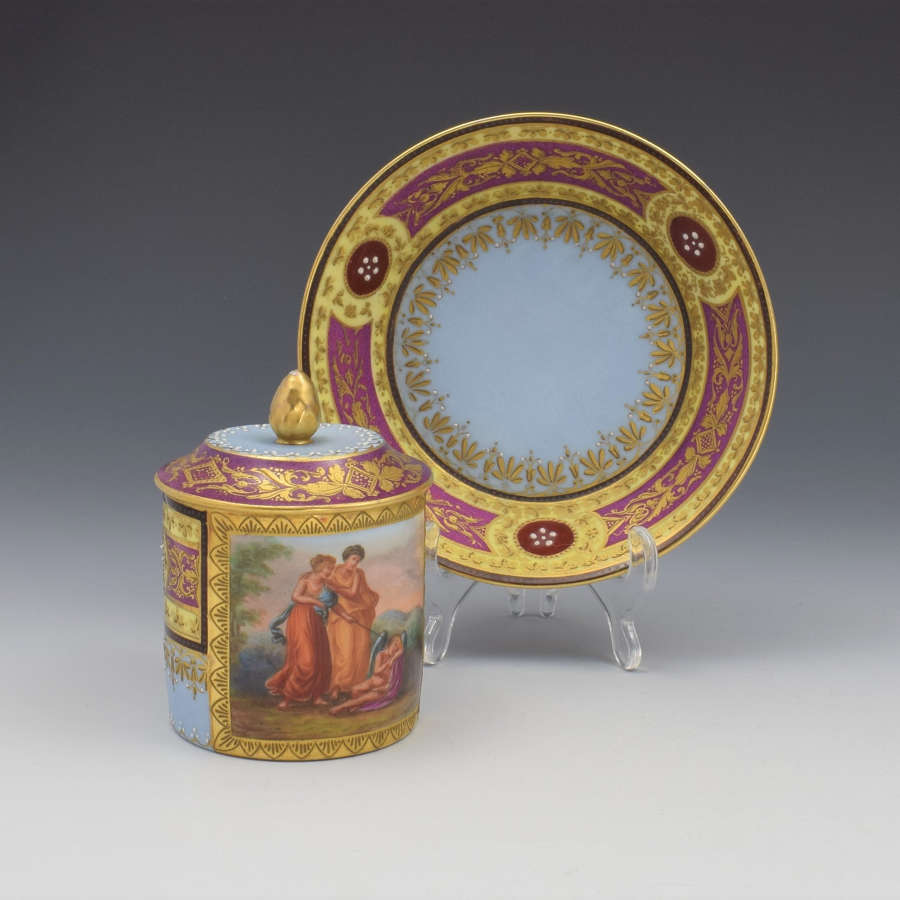 19th Century Vienna Porcelain Chocolate Cup & Cover With Stand
