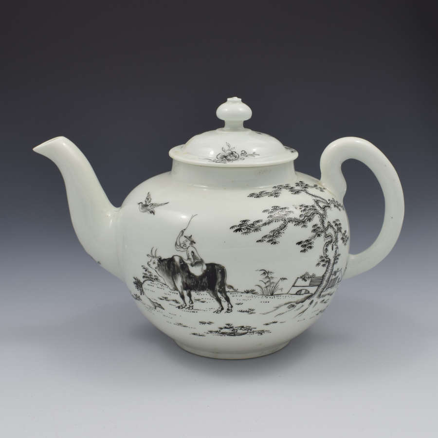 First Period Worcester Porcelain Teapot Boy On A Buffalo Ex-Zorensky