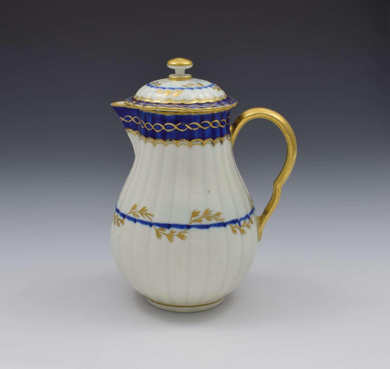 First Period Worcester Porcelain Fluted Sparrow Beak Jug & Cover