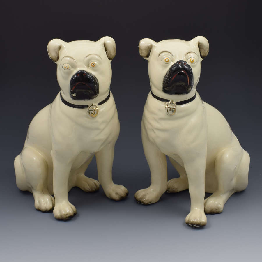 Large Pair Of Victorian Staffordshire Pottery Pugs Dogs C.1880