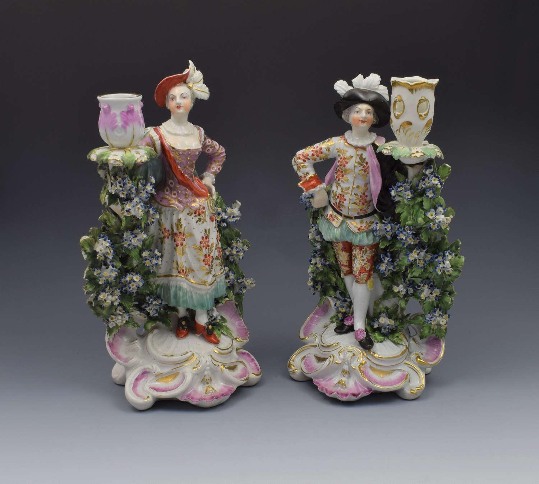 Pair Derby Porcelain Ranelagh Dancers Figural Candlesticks Figures
