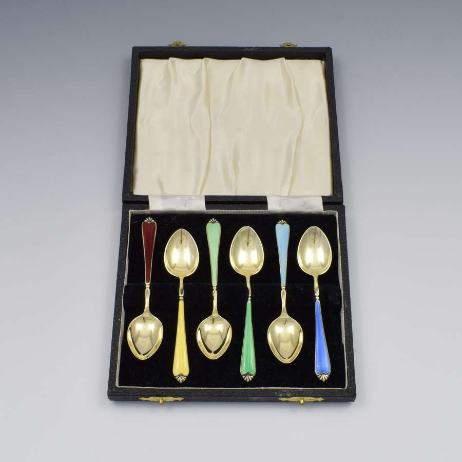 Cased Set 6 Silver Gilt & Guilloche Enamel Rainbow Teaspoons