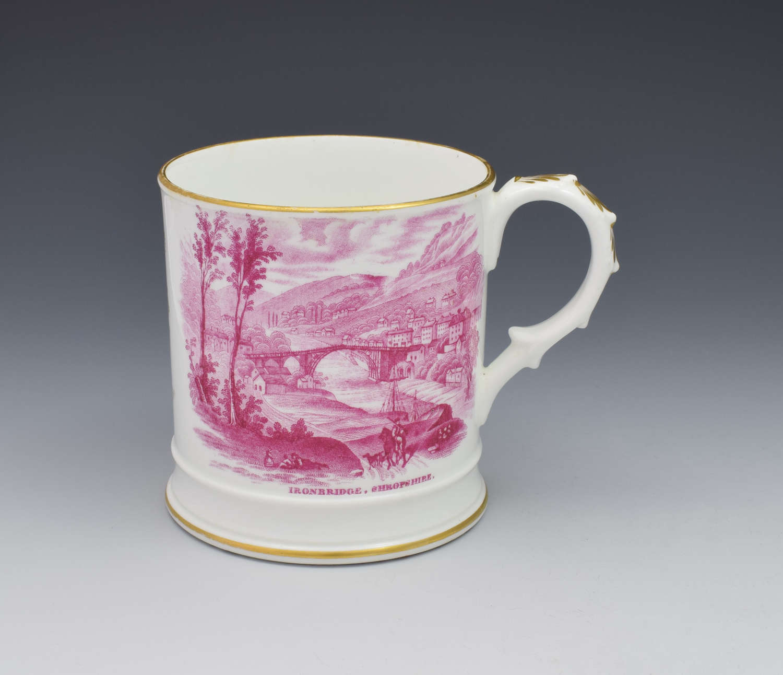 Early 19th Century Coalport Commemorative Ironbridge Porter Mug C.1825