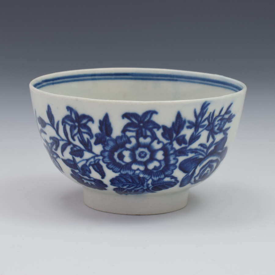 First Period Worcester Porcelain Three Flowers Pattern Tea Bowl C.1775