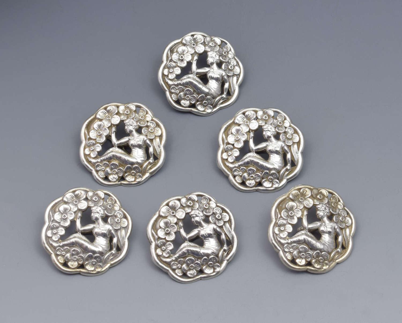 Set Of 6 Art Nouveau Silver Buttons Levi & Salaman