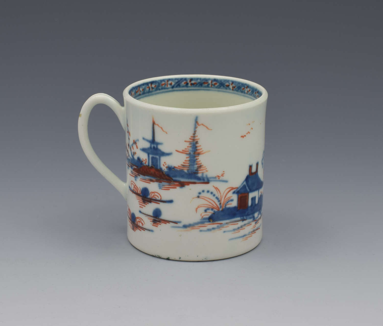 First Period Worcester Small Coffee Can Clobbered Cannonball C.1770