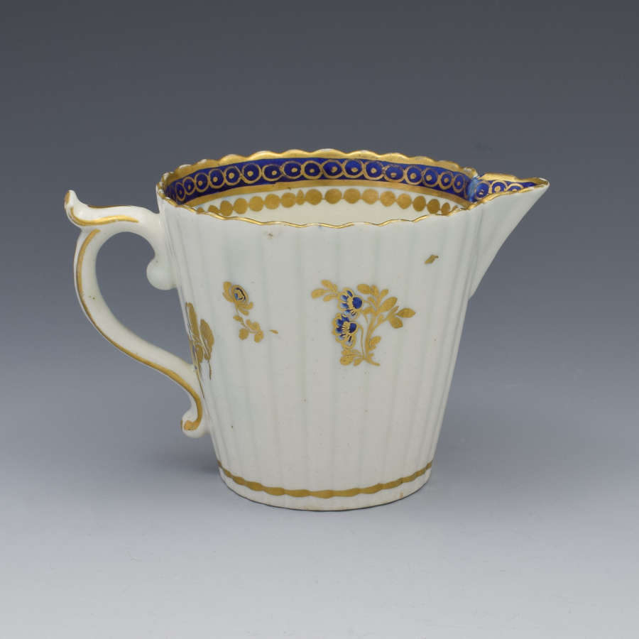Caughley Porcelain Fluted Cream Jug Dresden Flowers C.1790