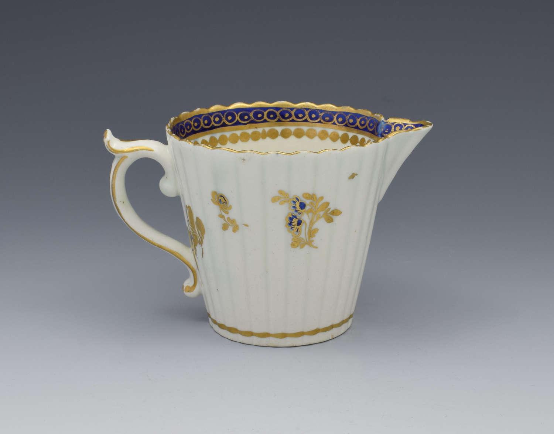 Caughley Porcelain Fluted Cream Jug Dresden Flowers C.1790
