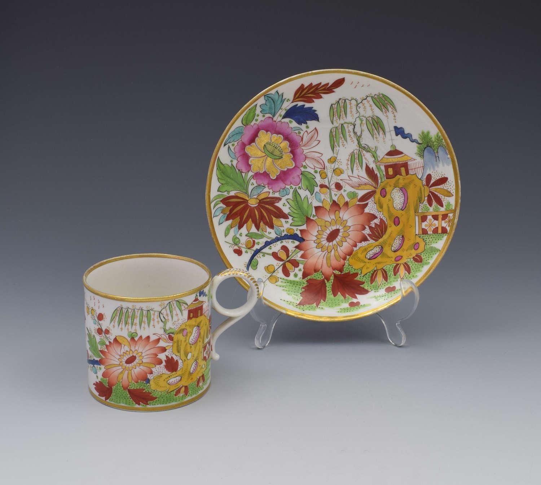 Unusual Worcester Barr Flight & Barr Porcelain Coffee Can & Saucer