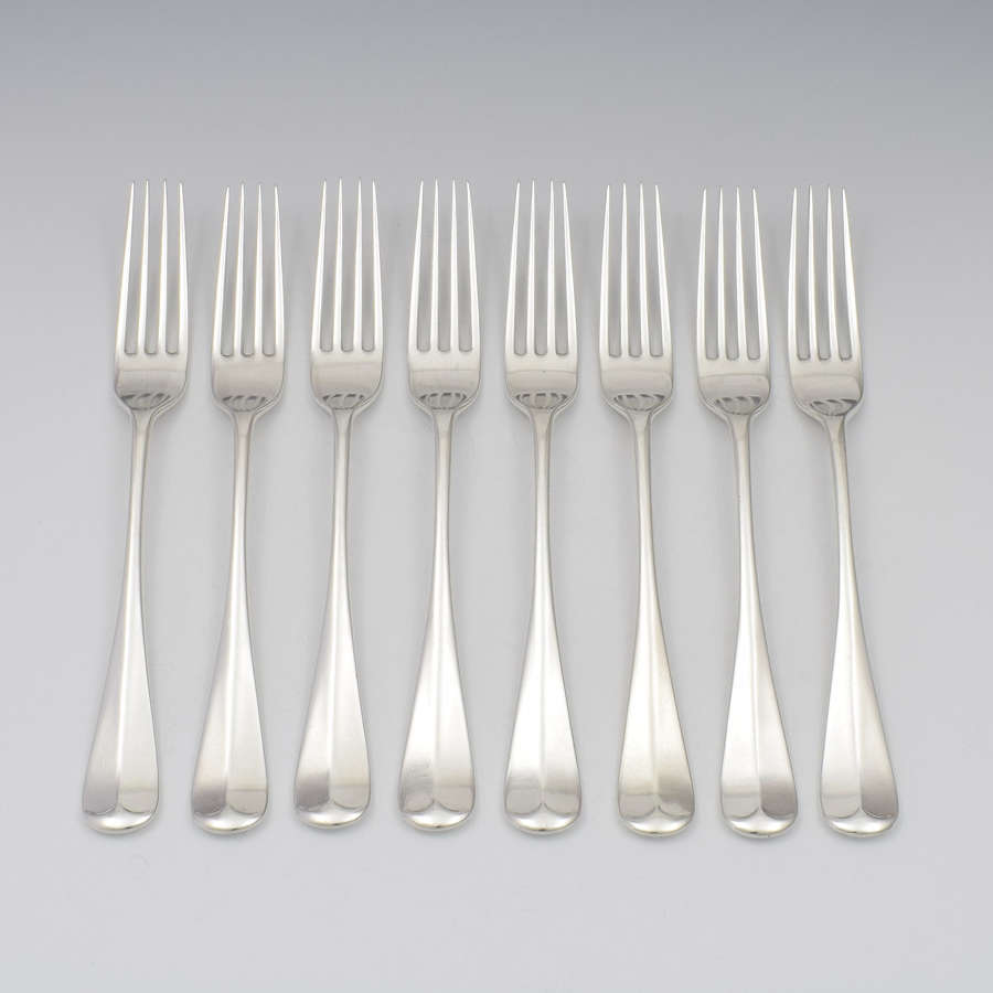 Set Of 8 Victorian Scottish Silver Dinner Table Forks Edinburgh Cowan