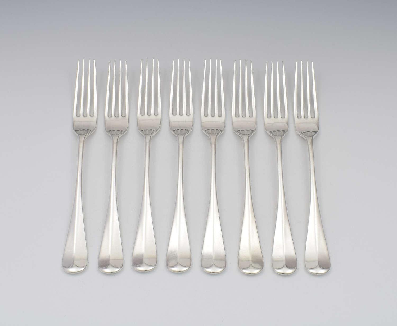 Set Of 8 Victorian Scottish Silver Dinner Table Forks Edinburgh Cowan