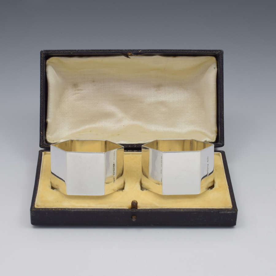 Pair George VI Hexagonal Silver Napkin Rings