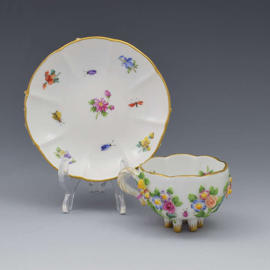 Meissen Flower Encrusted Cabinet Cup & Saucer