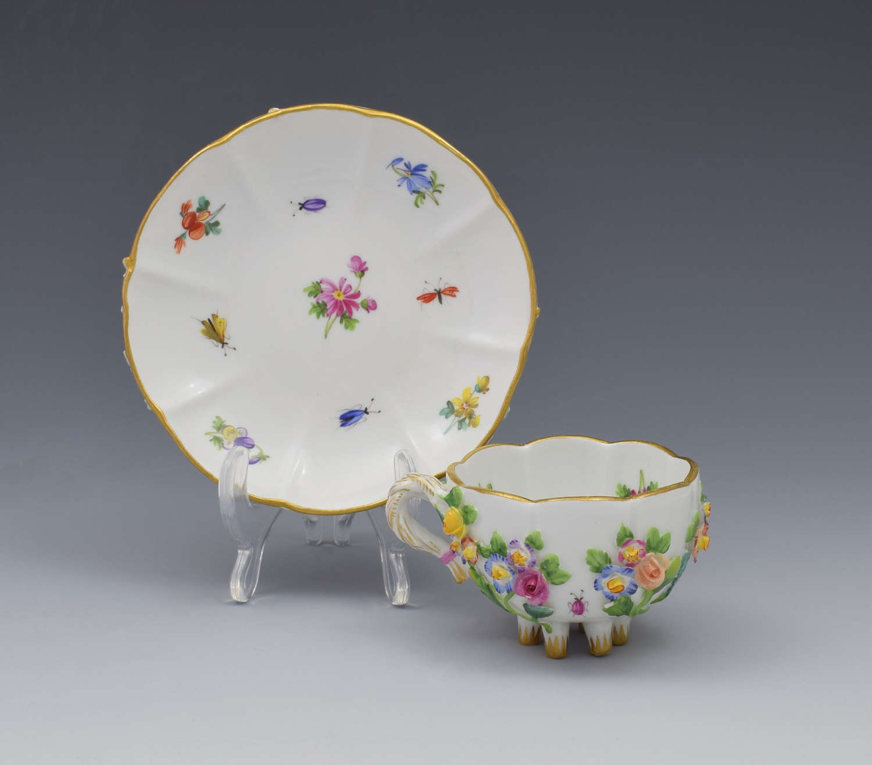 Meissen Flower Encrusted Cabinet Cup & Saucer